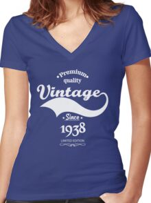 Premium Quality Vintage Since 1938 Limited Edition Women's Fitted V-Neck T-Shirt