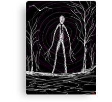 dark creepy slender man in forest on Halloween by Tia Knight Canvas Print