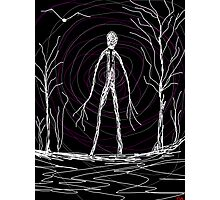 dark creepy slender man in forest on Halloween by Tia Knight Photographic Print
