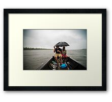 rain , lake, boat, drinks Framed Print
