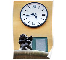 Statue of little cupid under the clock Poster