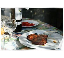 Barbeque Food and Wine Poster