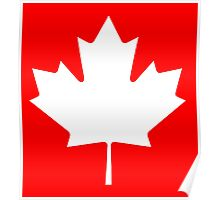 "CANADA, CANADIAN, MAPLE LEAF, WHITE, Pure & Simple, Canadian Flag, National Flag of Canada, ""A Mari Usque Ad Mare"" Poster"