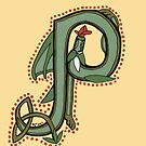 Celtic Oscar letter P (New Manuscript version) by Donna Huntriss