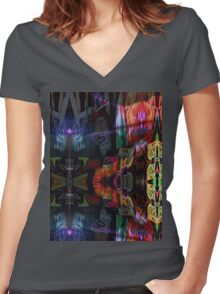 5 stage pattern experiment pt.2 Women's Fitted V-Neck T-Shirt
