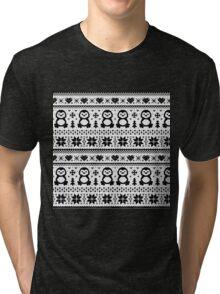 Penguin Pattern Black And White Tri-blend T-Shirt