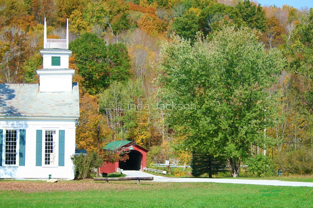 Church with Covered Bridge by Linda Jackson