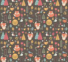 Baby fox pattern 04 by BlueLela