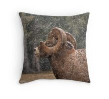 Snowed Ram Throw Pillow