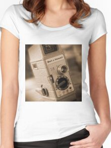 8mm Movie Camera Women's Fitted Scoop T-Shirt
