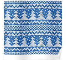 Blue and white christmas tree pattern Poster