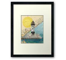 Duluth Hbr N Lighthouse MN Nautical Chart Cathy Peek Framed Print