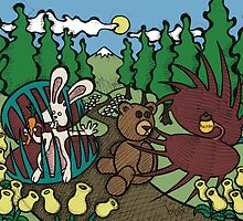 Teddy Bear And Bunny - The Venus Flytrap by Brett Gilbert