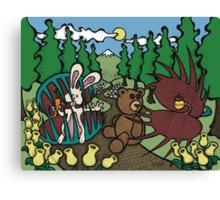 Teddy Bear And Bunny - The Venus Flytrap Canvas Print