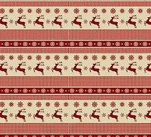 Red and cream reindeer and snowflakes christmas pattern by Winkham