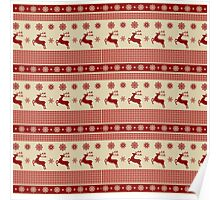 Red and cream reindeer and snowflakes christmas pattern Poster