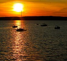 Sunset Boats Saint Andrews Canada by Jamie Roach