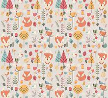 Baby fox pattern 05 by BlueLela