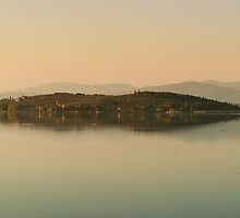 Evening glow, Isola Polvese, Lago Trasimeno, Umbria, Italy by Andrew Jones