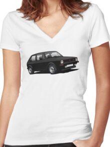 VW Golf GTI MK1 illustration black Women's Fitted V-Neck T-Shirt