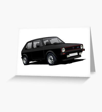 VW Golf GTI MK1 illustration black Greeting Card