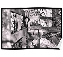 Mountain Bench - Black and White Poster