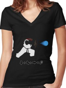 Vector Hadoken  Women's Fitted V-Neck T-Shirt