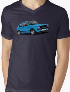 Volkswagen Golf GTI Mk1 illustration blue Mens V-Neck T-Shirt