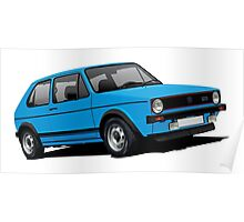 Volkswagen Golf GTI Mk1 illustration blue Poster