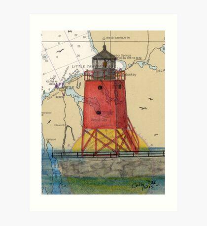 Charlevoix Pier Lighthouse MI Nautical Chart Cathy Peek Art Print