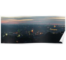 Sunset over Lviv - wide pano Poster
