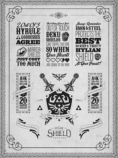 Legend of Zelda Hylian Shield Geek Line Artly by barrettbiggers