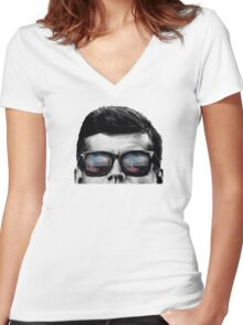 JFK Pop-Art t-shirt (black & White) Women's Fitted V-Neck T-Shirt