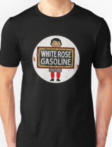 White Rose Gasoline. Boy with slate vintage sign. Rusted version T-Shirt