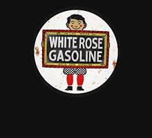 White Rose Gasoline. Boy with slate vintage sign. Rusted version Unisex T-Shirt