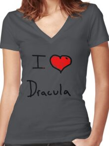 i love Halloween Dracula  Women's Fitted V-Neck T-Shirt