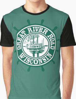 Great River Road Sign, Wisconsin, USA Graphic T-Shirt