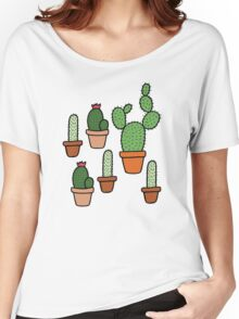 Cactus Pattern Women's Relaxed Fit T-Shirt