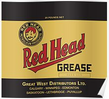 Red Head Grease Can Label Reproduction Poster
