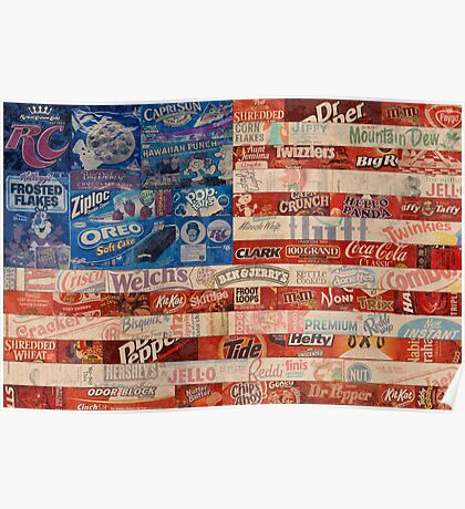 USA Flag - Vintage Recycled Popular Product Wrappers Poster