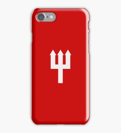 Minimalistic Manchester United Trident Design - Red & White iPhone Case/Skin
