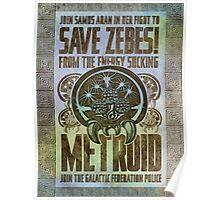 Metroid Propaganda Geek Line Artly  Poster