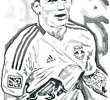 Tim Cahill New York Red Bulls Pencil Ink Sketch by chrisjh2210
