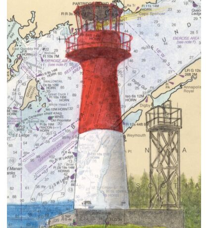 Cape Spencer Lighthouse NB Canada Chart Cathy Peek Sticker