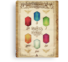 Legend of Zelda The Rupees Geek Line Artly Canvas Print