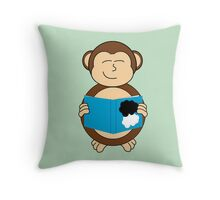 Monkey reading a book Throw Pillow