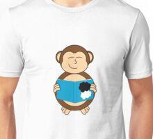 Monkey reading a book Unisex T-Shirt
