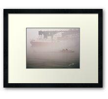 Two Harbors Fog Ship II Framed Print