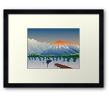 Sailboat Jetty  Mountains Retro Framed Print