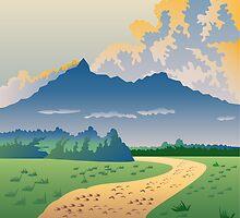 Road Leading to Mountains by patrimonio